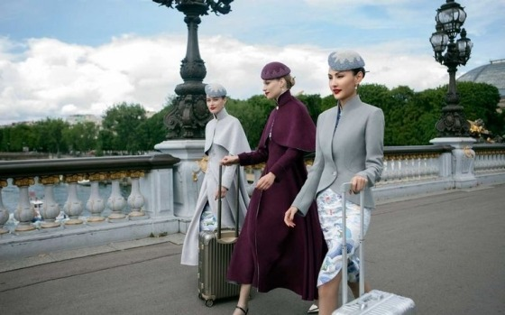 Hainan Airlines' new haute couture cabin crew uniforms BN style