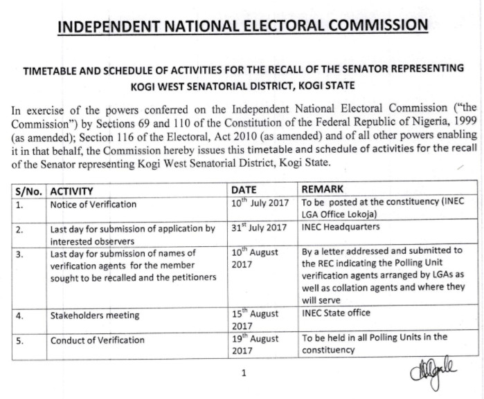 INEC releases Schedule for Recall of Dino Melaye