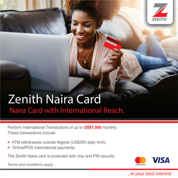 Zenith Bank naira cards