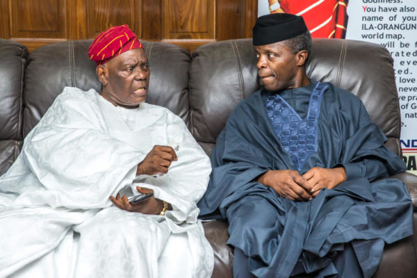 Osinbajo pays condolence visit to Bisi Akande over wife's passing