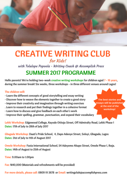Six Weeks, Three Venues, Unlimited Fun! Get your Kids registered for the 2017 Summer Creative Writing Workshop