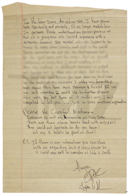 Recovered Prison Letter reveals Tupac broke up with Madonna because she was White