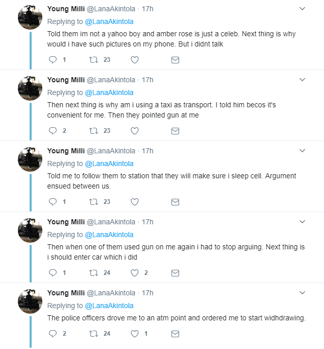 Twitter User shares Experience of how Nigerian Police Extorted Him