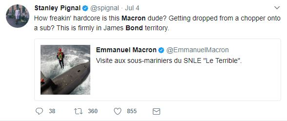 Macron, Emmanuel Macron: French President dubbed James Bond as he lands atop Submarine from a Helicopter