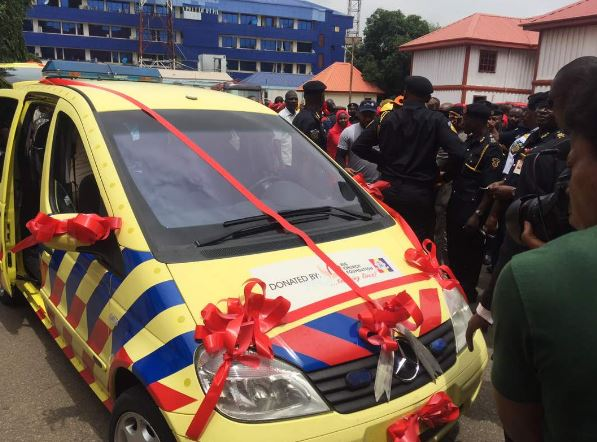 TBoss, AY, Waje present as Churchill Olakunle donates Ambulance to Fire Service