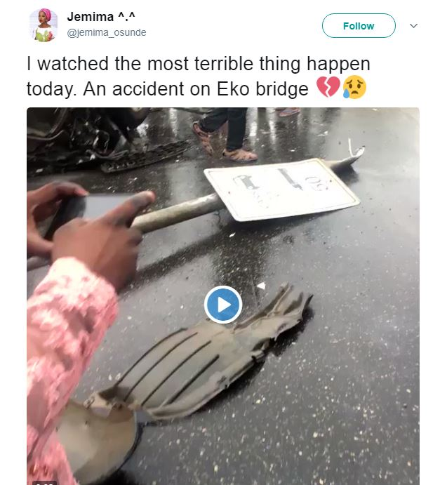 Twitter User shares experience of helping Accident Victims on Eko Bridge
