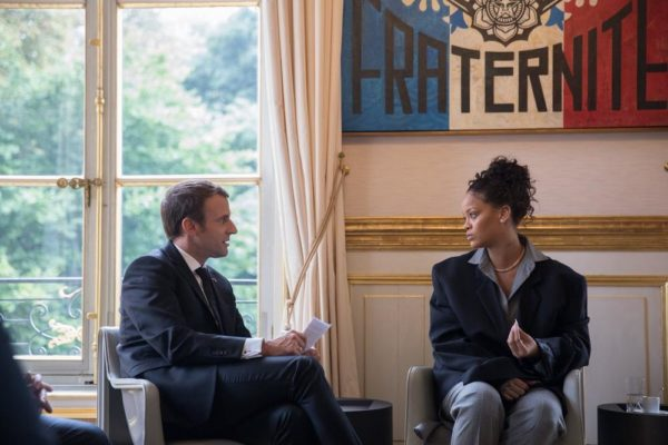 Rihanna sits with French President Macron to discuss Girls Education