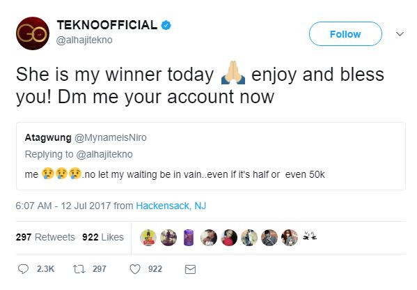 BellaNaija - Lucky Twitter User receives 500k from Tekno