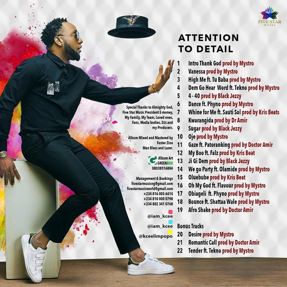 "2Baba, Tekno, Falz, Sauti Sol feature in Kcee's New Album ""Attention to Detail"" 