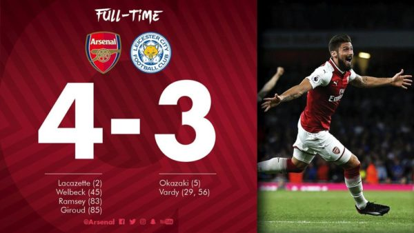 Arsenal defeats Leicester City 4-3 in an incredible season opener