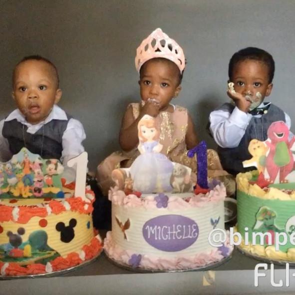 Bimpe Onakoya's Triplets celebrate First Birthday - BellaNaija