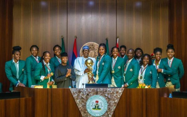 President Buhari rewards triumphant female basketball team