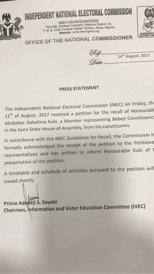 Constituents ask INEC to Recall Kano Lawmaker - BellaNaija
