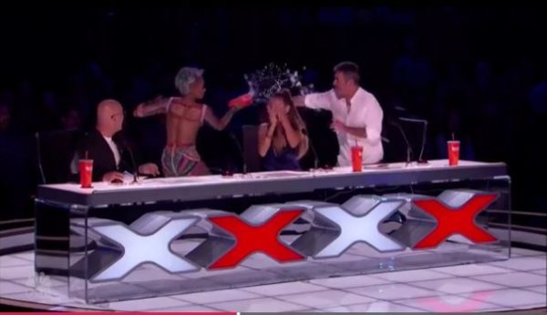 "Mel B throws Cup of Water on Simon Cowell, Storms off ""America's Got Talent"" - BellaNaija"