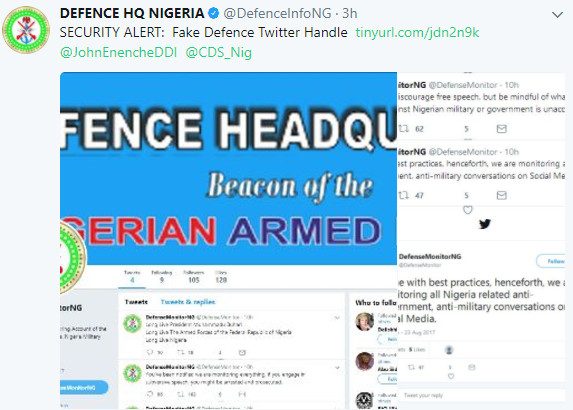 Social Media Monitoring: Military distances self from Fake Twitter Account