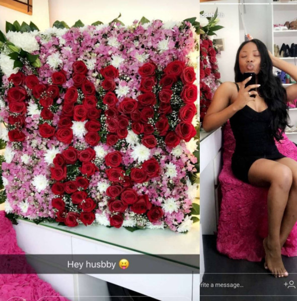 Mo Cheddah gets a lovely flower from beau Prince BK