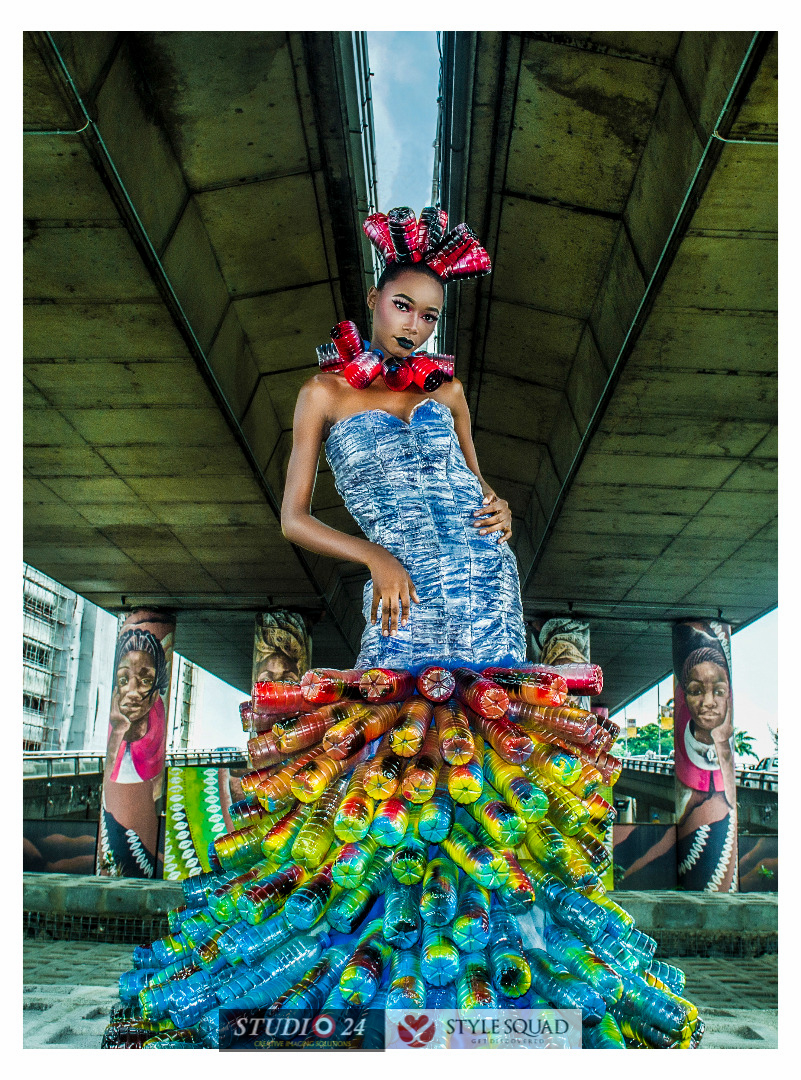 Studio 24 And Style Squad Upcycle Pure Water Sachets And Plastic Bottles For Fashion Editorial