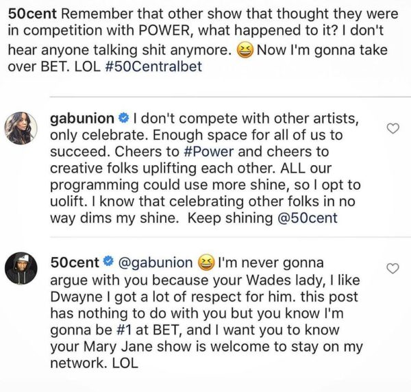 There's Enough space for all of us to succeed! 50 Cent is throwing Shade and Gabrielle Union is clapping back