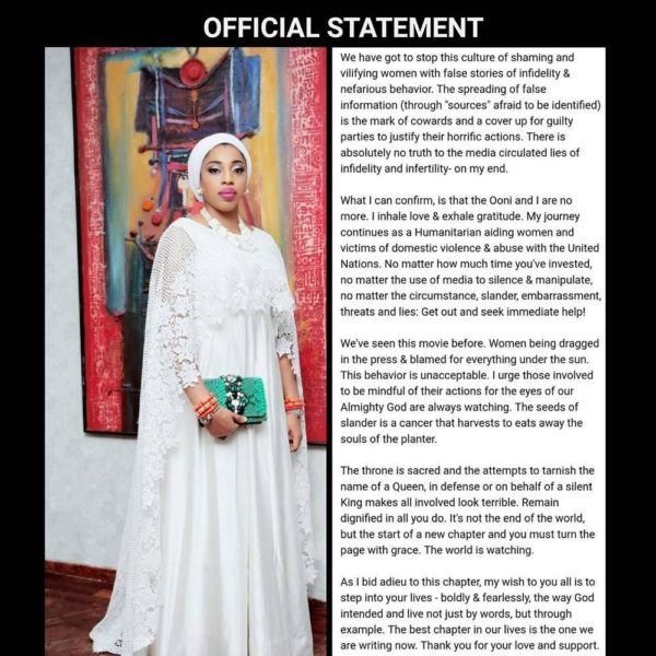 Olori Wuraola, now Zaynab-Otiti Obanor, confirms Split with Ooni of Ife - BellaNaija