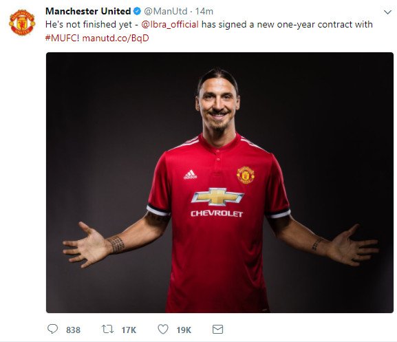 Zlatan Ibrahimovic: Manchester United re-sign striker on one-year deal