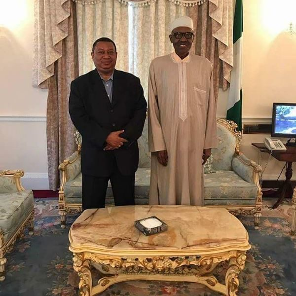 President Buhari receives OPEC Secretary-General Sanusi Barkindo in London - BellaNaija