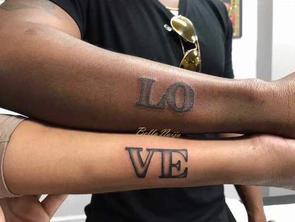 Image result for Matching tattoos, romantic messages… Juliet Ibrahim and Iceberg Slim celebrate their love