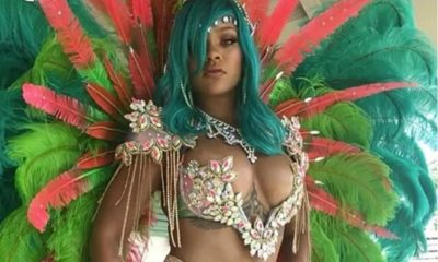 Island Gyal! Rihanna looks ?? at a Carnival in Barbados with Blue Hair