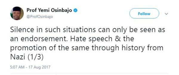 Silence is Endorsement - Osinbajo speaks on Hate Speech - BellaNaija