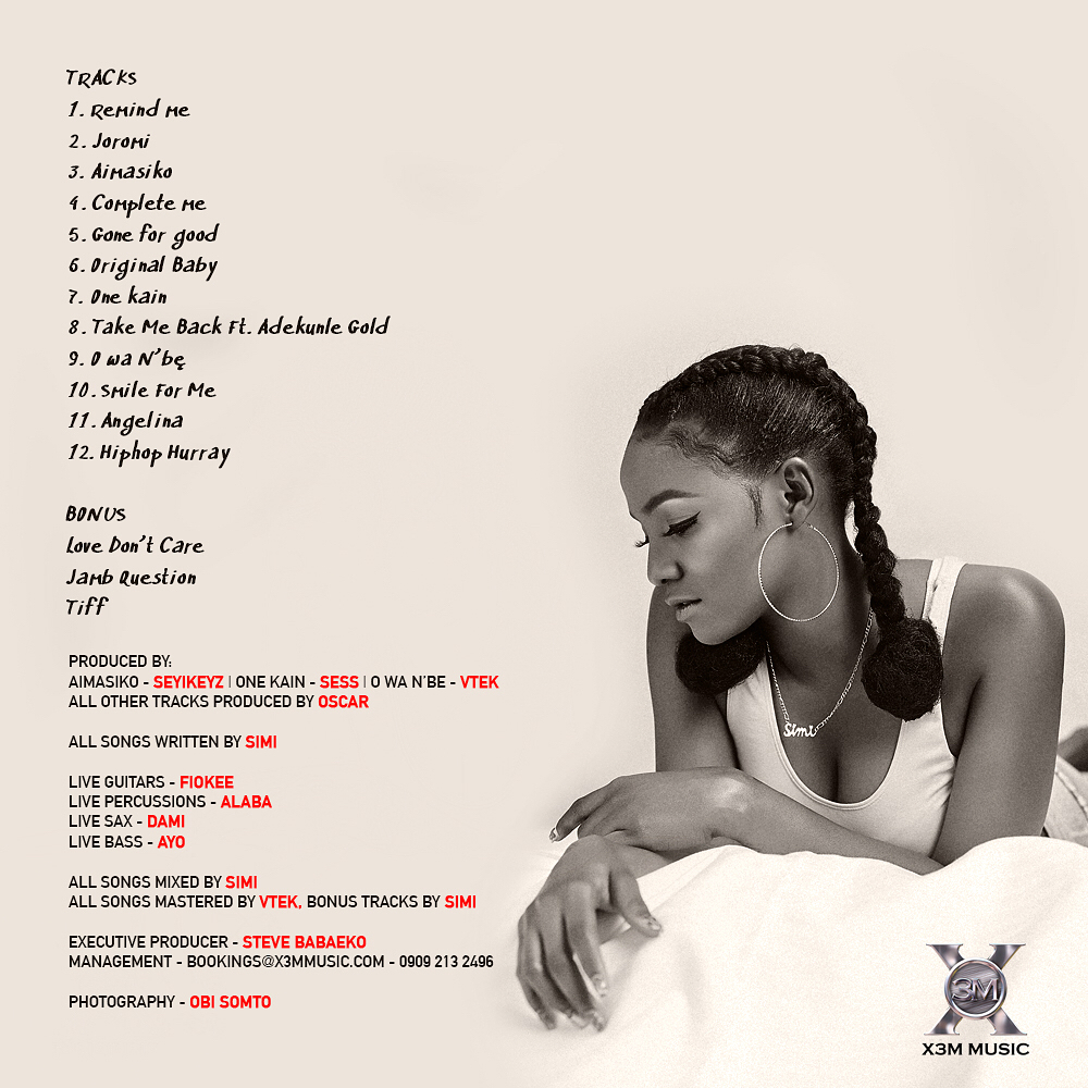 BellaNaija - #SimisolaTheAlbum: Simi unveils Official Tracklist