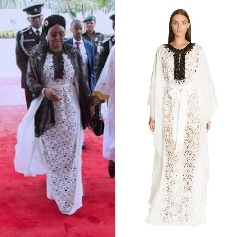 BellaNaija - Aisha Buhari wears Expensive Oscar de la Renta dress to welcome Uganda's First Lady
