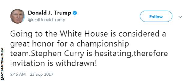 BellaNaija - Donald Trump bans NBA winners Golden State Warriors from White House | See all the Reactions