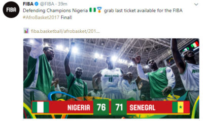 Afrobasket: Defending Champions D'Tigers outlasts Senegal to reach Tournament Final I WATCH