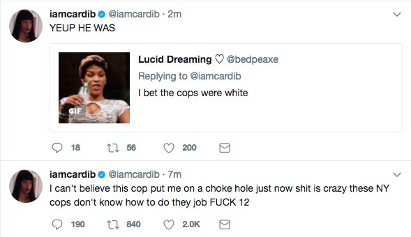 Police shoot down Cardi B's choke hold claim