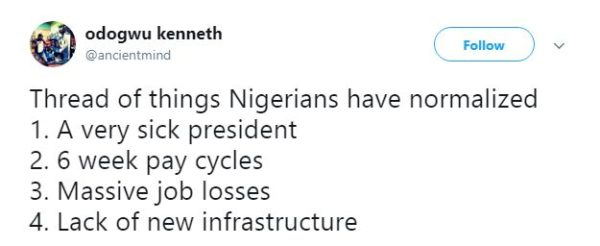 This Odogwu Kenneth Thread of 100 things Normalized by Nigerians is so Sad but so True - BellaNaija