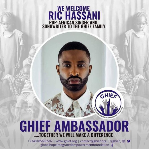 Oh, the heartstrings! Ric Hassani joins the GHIEF Family - BellaNaija