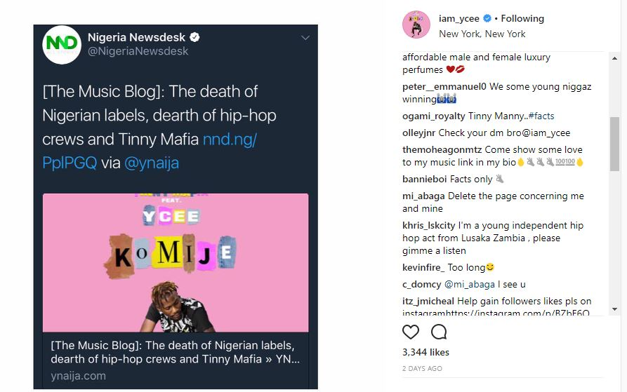 "BellaNaija - ""Delete the page concerning me & mine"" - M.I to Ycee over Instagram post"