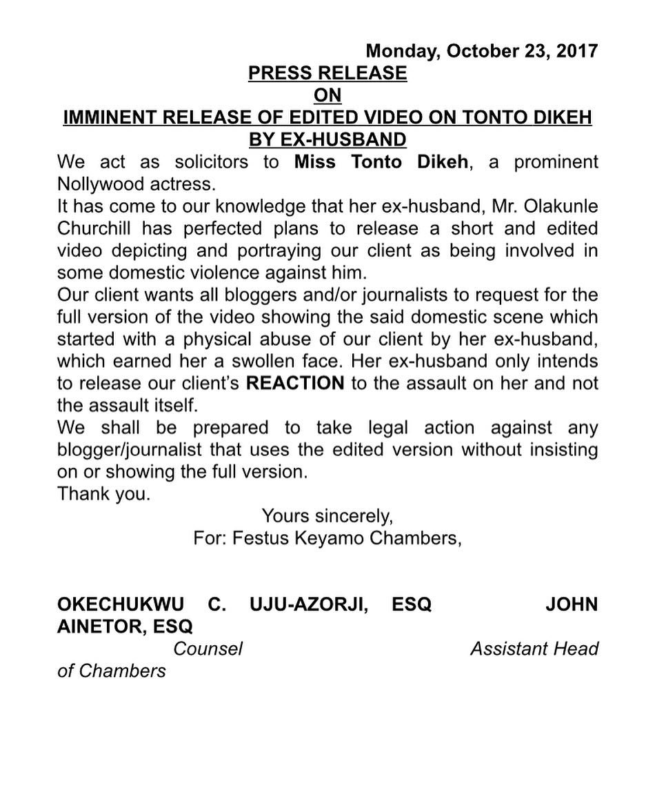 Tonto Dike warns against allegedly doctored video evidence to be revealed by Churchill