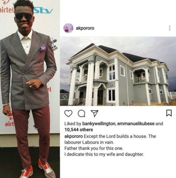 Congrats! Akpororo Completes Mansion in Lagos