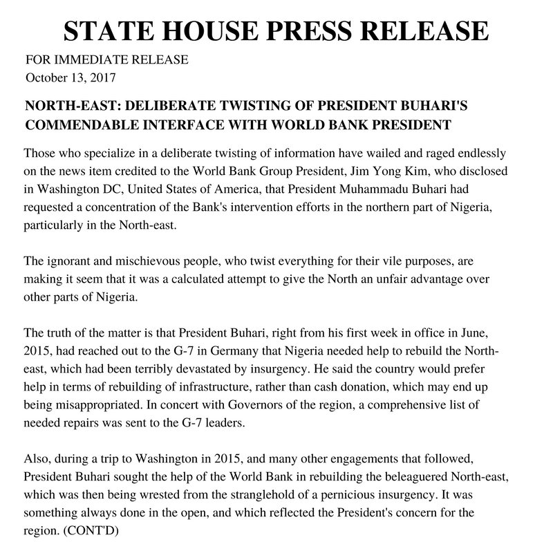 "Presidency clarifies Buhari's statement to World Bank on shifting focus to ""northern region of Nigeria"""