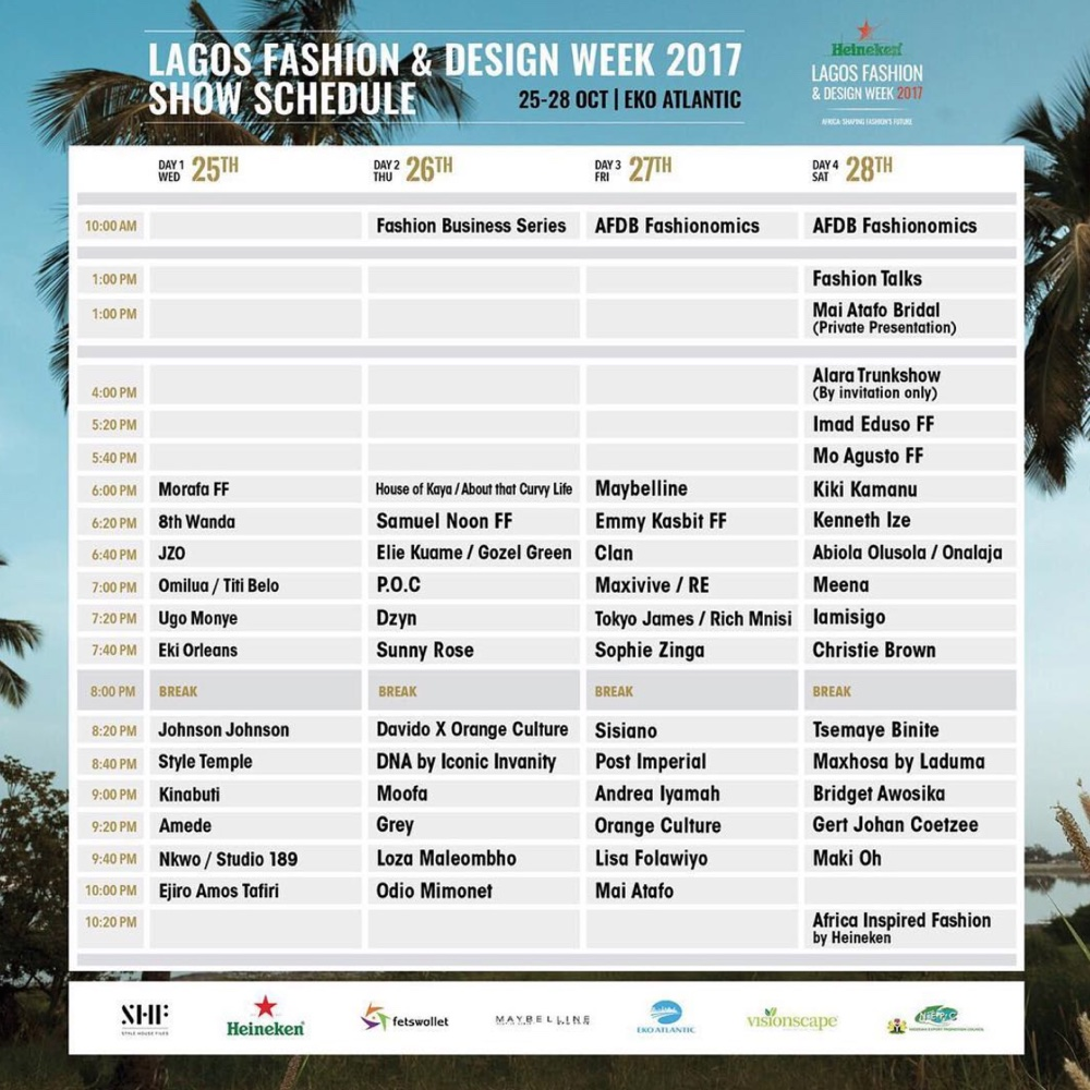 #LFDW17: Lagos Fashion and Design Week 2017 Show Schedule