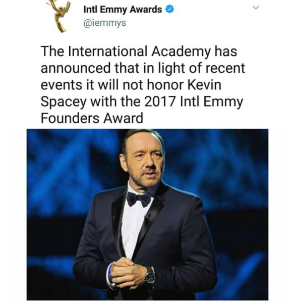 Sexual Abuse: Emmys will no longer Honour Kevin Spacey with 2017 Founders Award