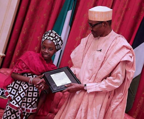 Little Aysha, Nicole & Maya meet President Buhari - BellaNaija