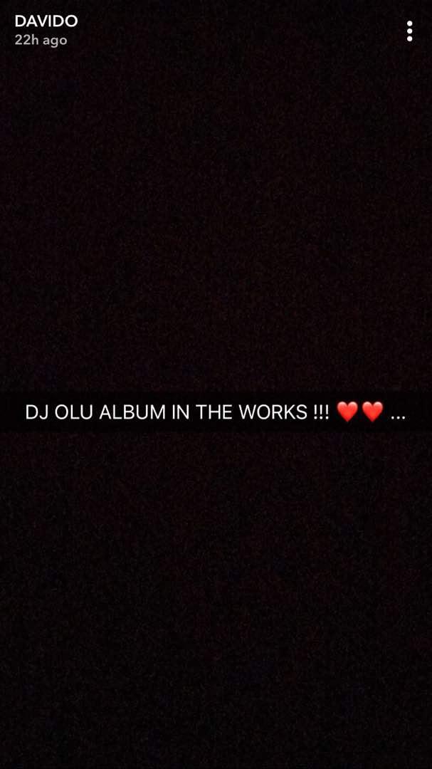 DJ Olu album is in the works - Davido