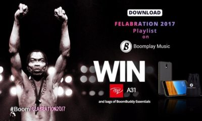 #BoomFelabration: Download the Felabration 2017 playlist on Boomplay Music to Win itel Smartphones & bags of BoomBuddy Essentials!