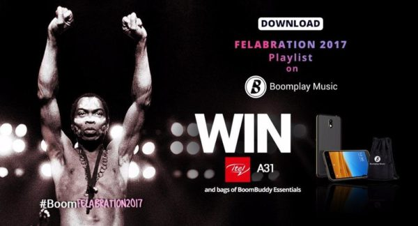 #BoomFelabration: Download the Felabration 2017 playlist on Boomplay Music to Win itel Smartphones & bags of BoomBuddy Essentials