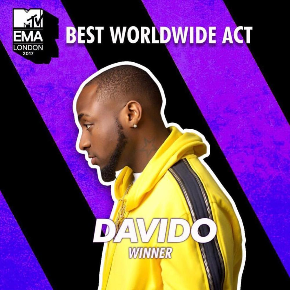 "OBO at the Double! Davido wins MTV EMA's ""Best Worldwide Act"""