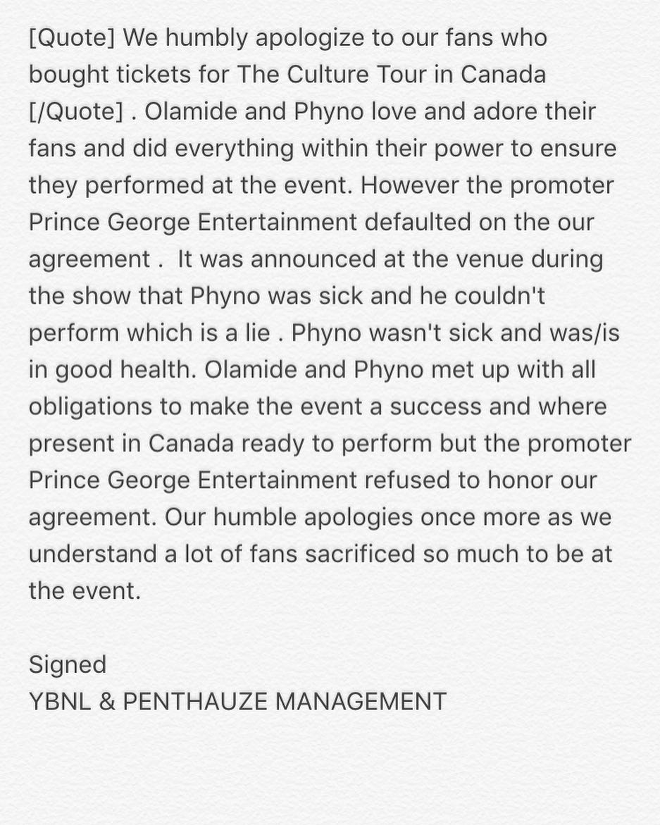 """The promoter defaulted on our agreement"" - Phyno & Olamide clear the air on their Canada Culture Tour"