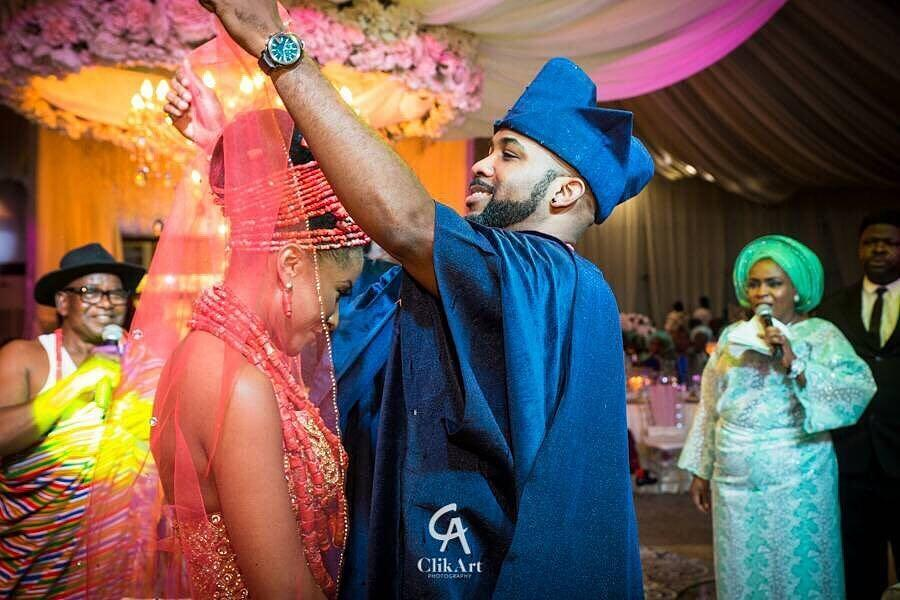 PHOTOS: Nigerian Singer, Banky W And Actress Adesua Etomi Shut Down Lagos For Their Traditional Wedding