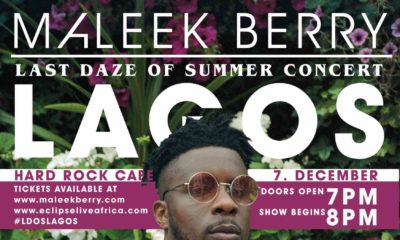 "Maleek Berry to finish off ""Last Daze of Summer Tour"" with First Headline Concert in Lagos"