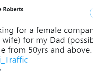 Isn't this the sweetest thing? Twitter User searches for Wife for her Father. - BellaNaija